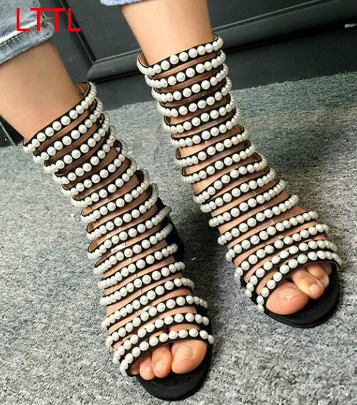LTTL Designer Sandals Sexy High Heel Cut Out Open Toe Summer Sandal Ankle Boots Bling Bling Pearls Studded Gladiator Shoes Women new arrival knee high boots cross strap cut outs gladiator sandal boots suede open toe lace up sandals summer women flat shoes