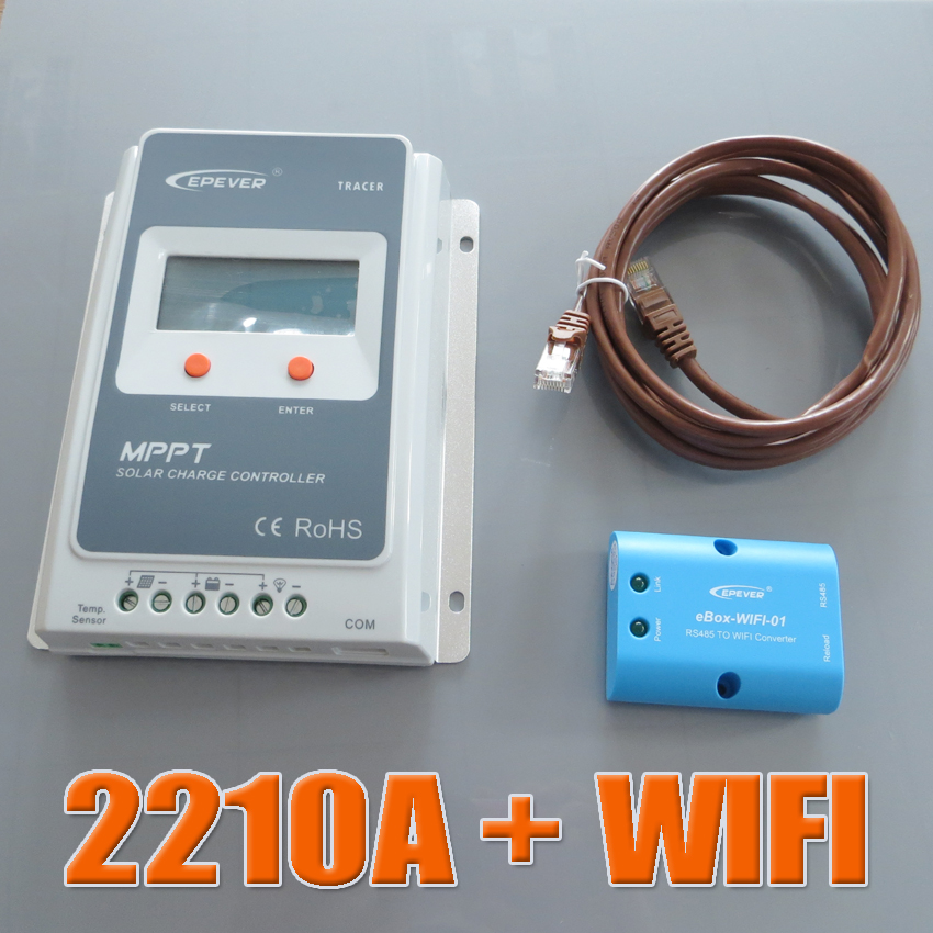 Tracer 2210A MPPT Solar Charge Controller 20A 12V 24V Auto+WIFI Box Mobile Phone APP use Battery Regulator Charge Controller wifi box for android app connect use solar panel controller tracer2210cn 12v 24v auto work with usb cable 20a
