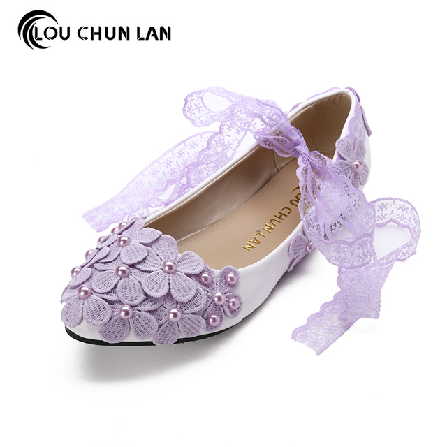 Pink Pearl Anklet High Heeled Bridal Shoes Soft Outsole Bridesmaid Purple Rhinestone Handmade Wedding