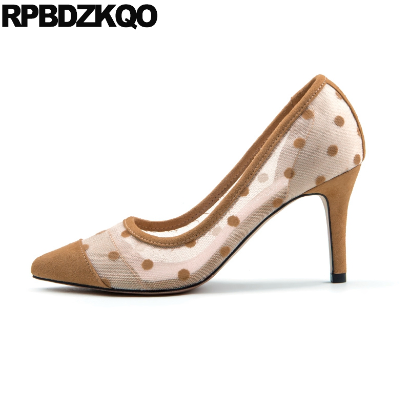 Detail Feedback Questions about 8cm Pumps Scarpin Pointed Toe Low Heels  Summer Shoes Size 33 12 44 11 43 High Brown Ladies Mesh Medium Big Evening  Kitten 4 ... 48cc5e220218