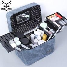 Bolsa de cosméticos de piel sintética de gran capacidad para mujer, estuche para bolsa de maquillaje, profesional, a la moda, organizador, caja de almacenamiento, Maleta
