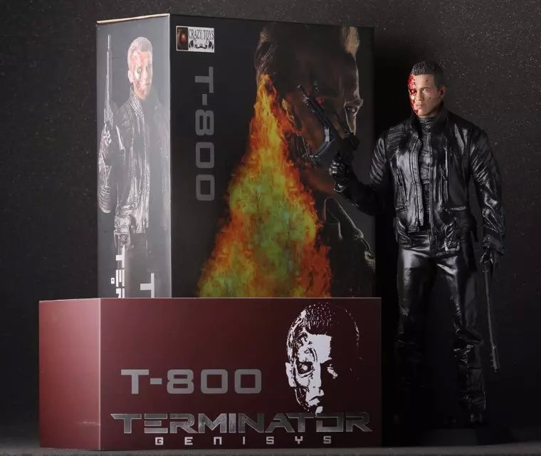 The terminator action figure 1/6 scale painted figure double guns battle damaged...