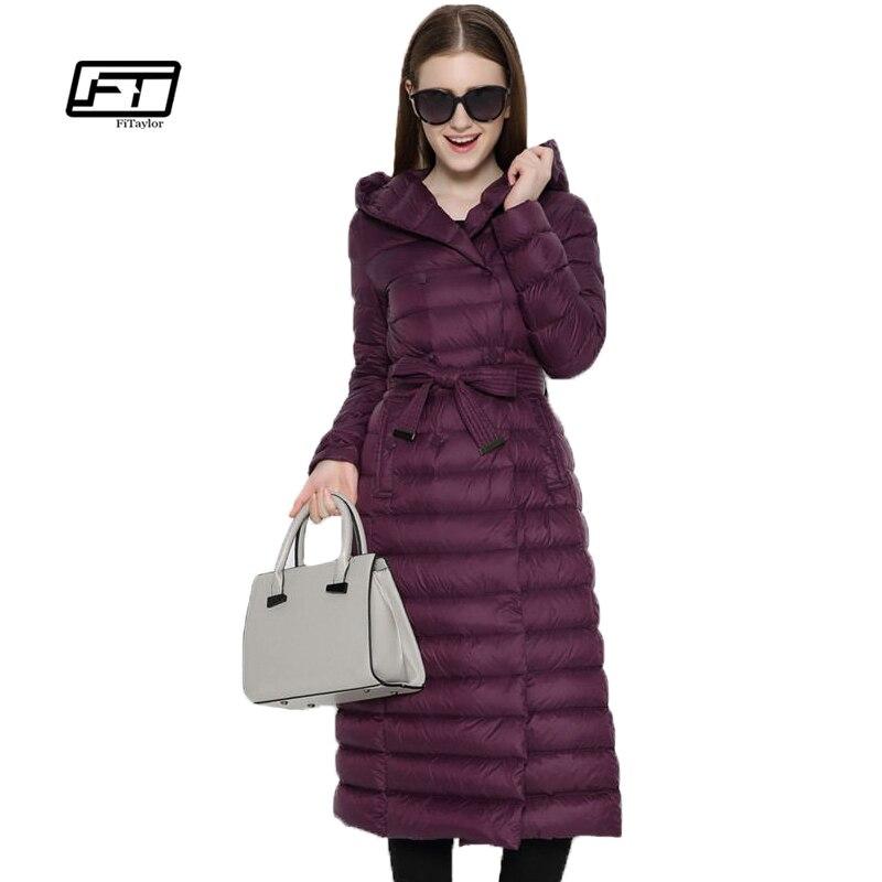 Fitaylor новые зимние для женщин ультра легкий утка подпушка длинное пальто однобортный плюс размеры теплая зимняя верхняя одежда тонкий с ш