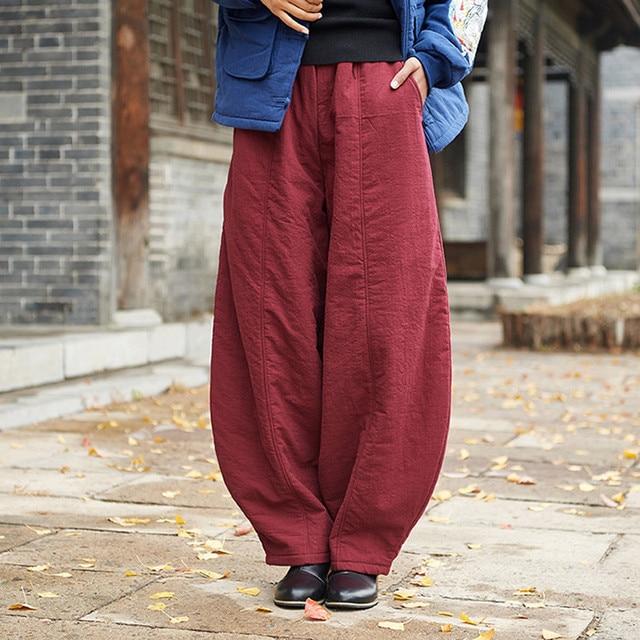 Johnature New Vintage Elastic Mid Waist Solid Color Loose Full Length Pants 2019 Winter Cotton Linen Warm Women Lantern Pants
