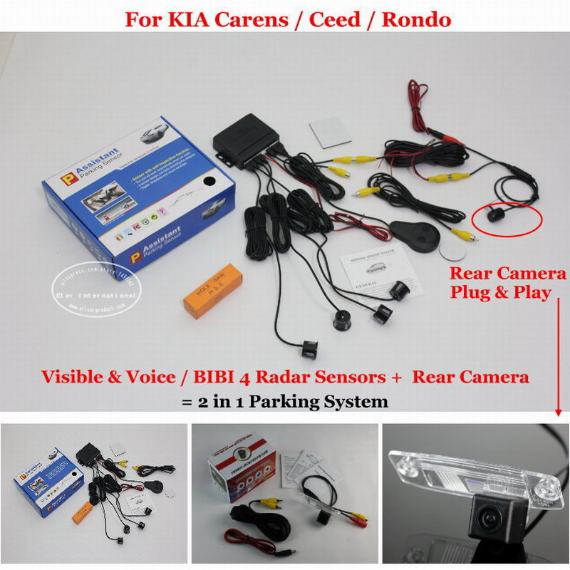 Car Parking Sensors + Rear View Camera = 2 in 1 Visual / BIBI Alarm Parking System For KIA Carens / Ceed / Rondo qj 2 portable 14500mah li ion battery solar power source bank w dual usb led blue