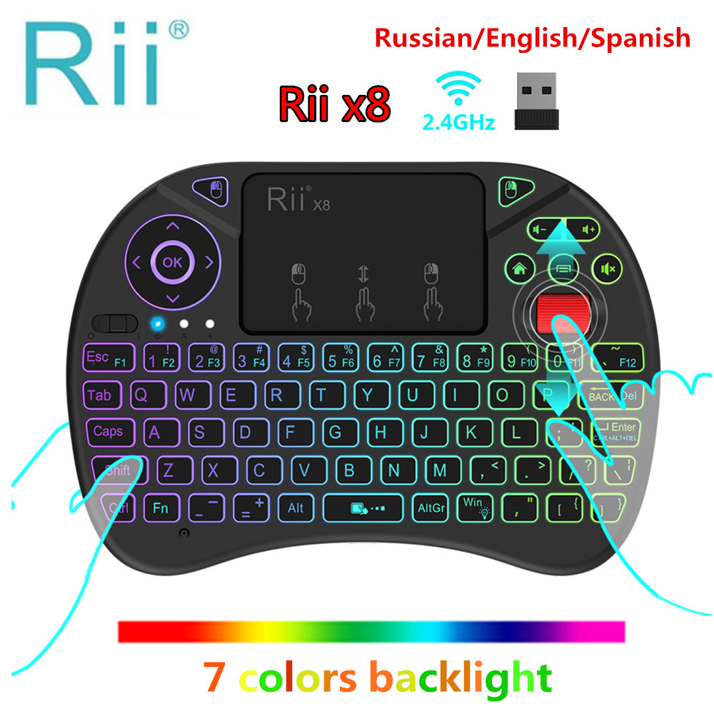 Original Rii x8 RGB Backlit Wireless mini Keyboard i8x 2.4G Fly Air Mouse Russian Spanish Touchpad Gaming for Android TV BOX PC original rii i8x x8 rgb backlit wireless keyboard 2 4g fly air mouse handheld touchpad i8 gaming keyboards for android tv box