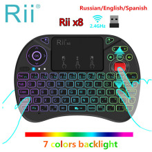 Original Rii x8 RGB Backlit Wireless mini Keyboard i8x 2.4G Fly Air Mouse Russian Spanish Touchpad Gaming for Android TV BOX PC