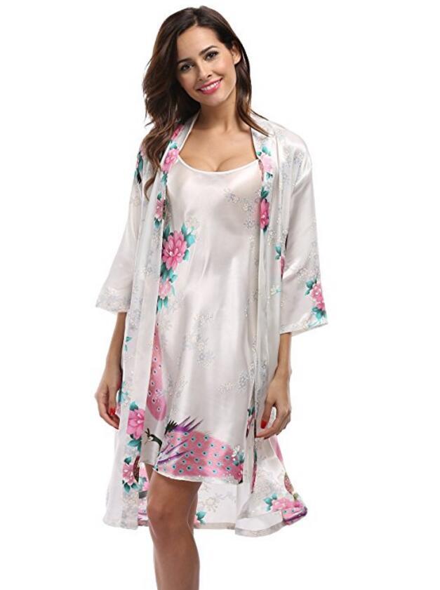 2 unidades Set mujeres seda Pavo Real Kimono Robes Sexy Lingerie mujeres boda dama satén camisón Albornoz Pijam