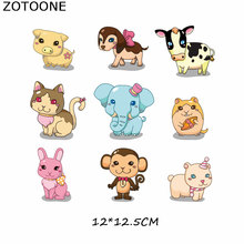 Patches Cute Animal Set Patch Iron On Transfer For Clothing Beaded Applique Clothes Cat Dog Cartoon Embroidery DIY E