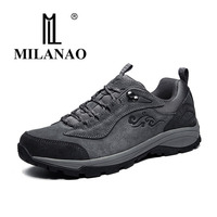 New 2016 MILANAO Man Sports Outdoor Shoes Athletic Light Leather Waterproof Breathable Hiking Shoes Women Climbing