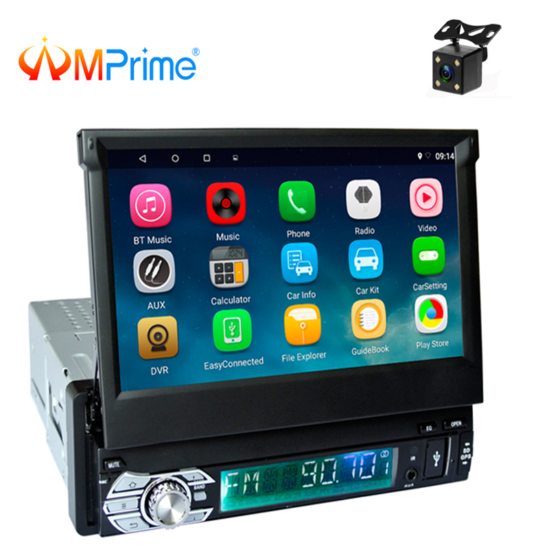 AMPrime1 Din Android Car Radio Wifi Bluetooth Multimedia Players GPS Navigation 7 inch Retractable Touch Screen Auto Video Audio