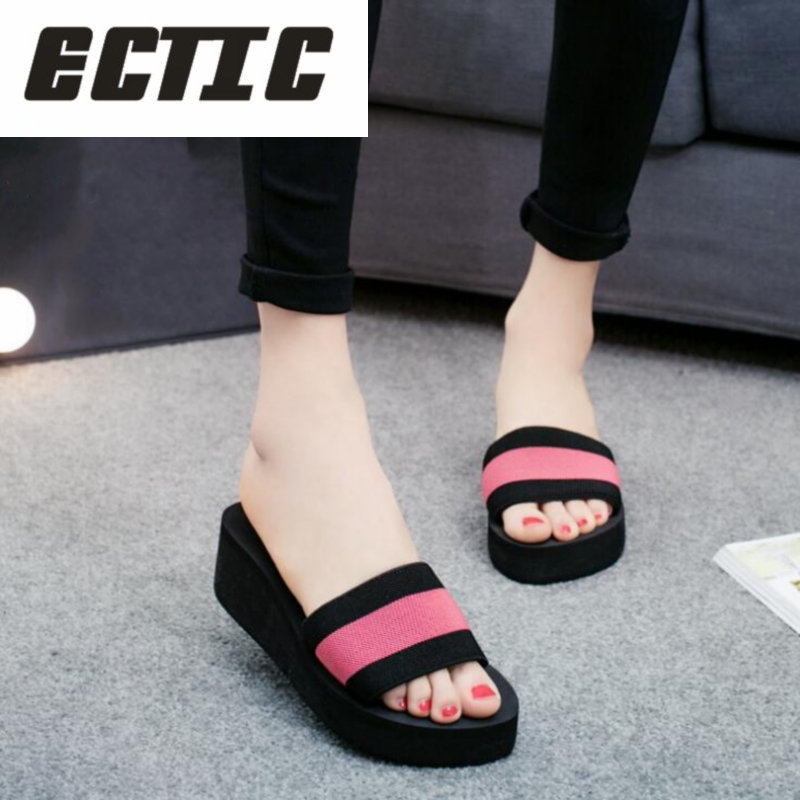 ECTIC Summer Woman Shoes Platform bath slippers Wedge Beach Flip Flops High Heel Slippers For Women Brand Eva Ladies Shoes YY-47 senza fretta women shoes platform beach slippers flip flops wedge beach flip flops slippers for women brand eva ladies shoes