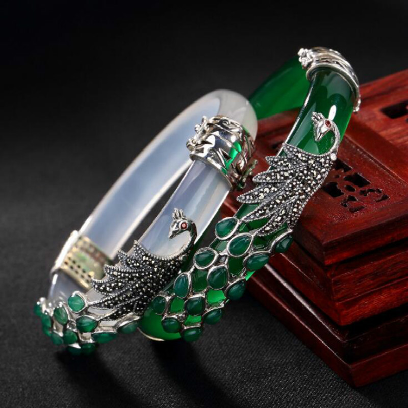 S925 Sterling Silver Bracelet Women Thai Silver Chalcedony Bangle Jade Vintage Marcasite Peacock Bangles Fine Jewelry