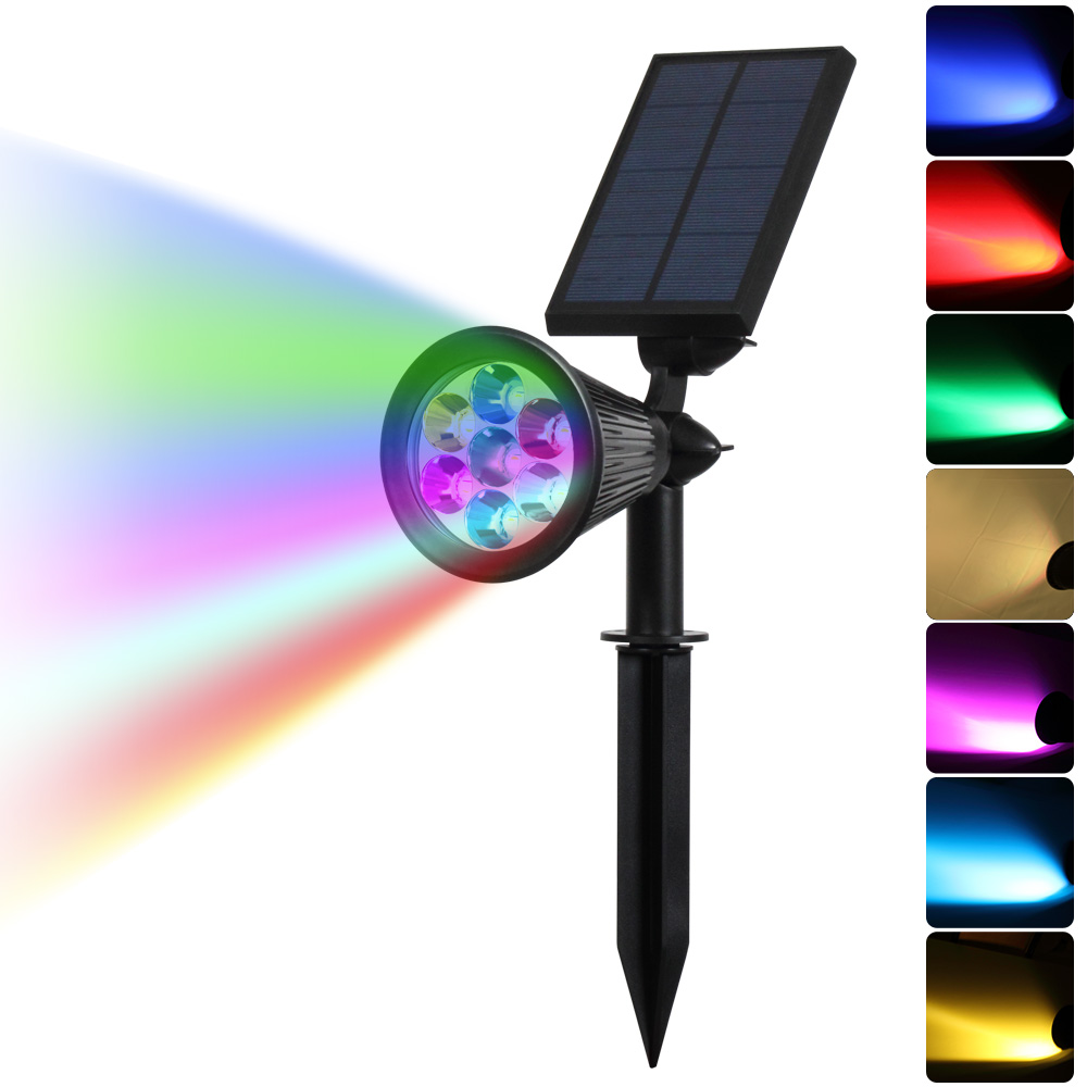 7 Led Auto Color Changing Solar Spotlight Outdoor Lighting Solar Powered Security Landscape Wall
