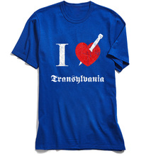 Custom Man Tshirt Youth T-shirts I Love Transylvania Tops T Shirt All Cotton Short Sleeve Letter 80s Tee Shirts O Neck Wholesale