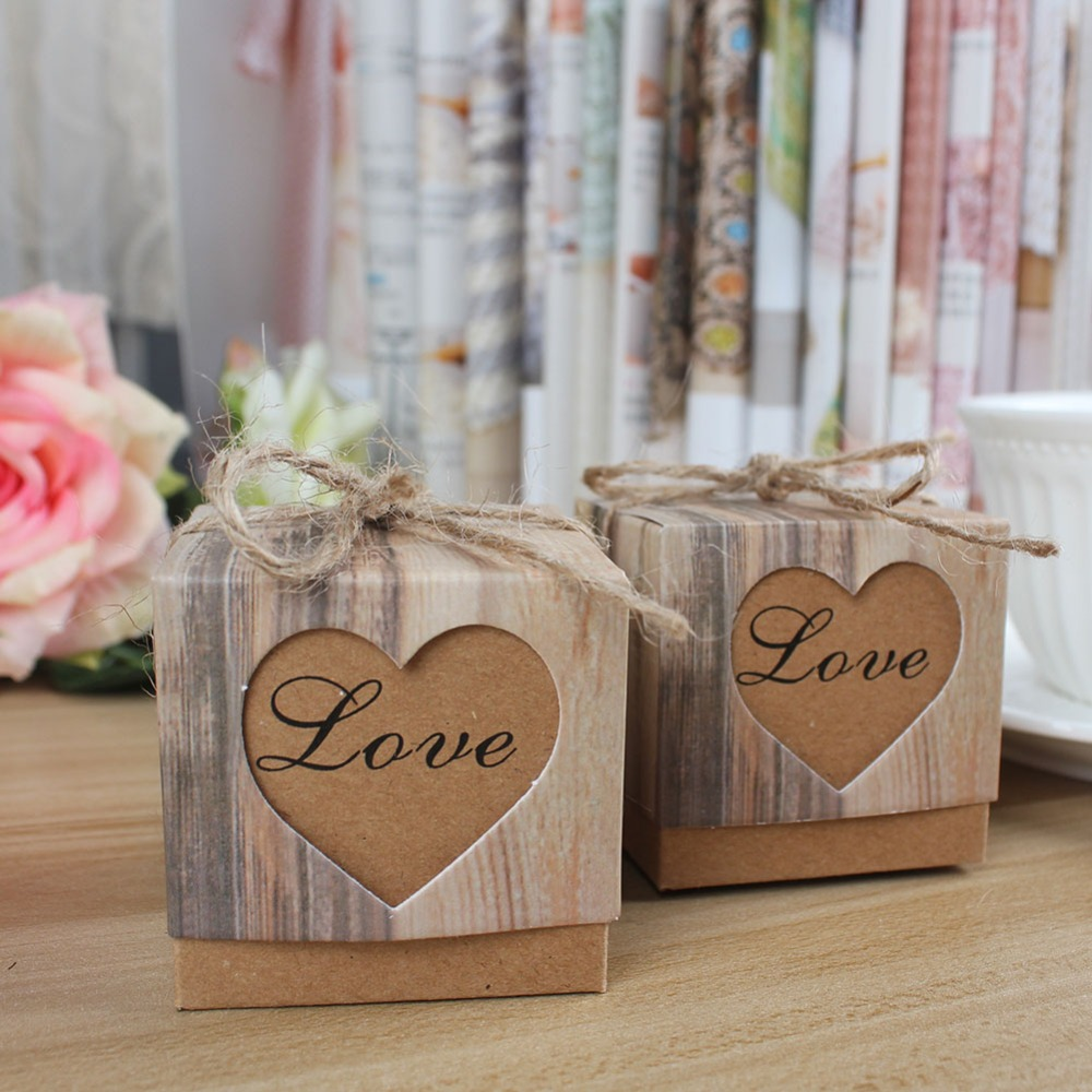 10pcs/lot Wedding Candy Box Romantic Heart Kraft Gift Bag with Burlap Twine Chic Wedding Favors and Gifts Box Party Supplies