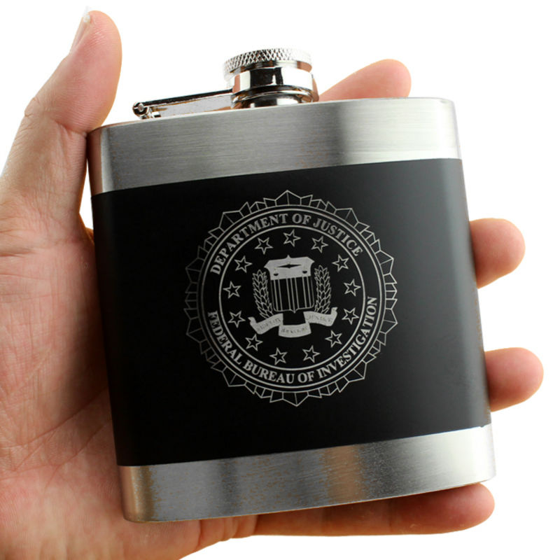 FBI Fun Design Stainless Steel Drinking Vessel Gift 6 OZ Ounces Hip Flask For Alcohol Whiskey