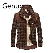 2019 New Spring Autumn Fleece Men Winter Jacket Plaid Classical Button M-3XL