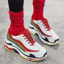 High Quality Walking Shoes 2018 New Sneakers Female Ins the Hottest Shoes Street Shot Shoes Korean Students Thick Bottom WK31