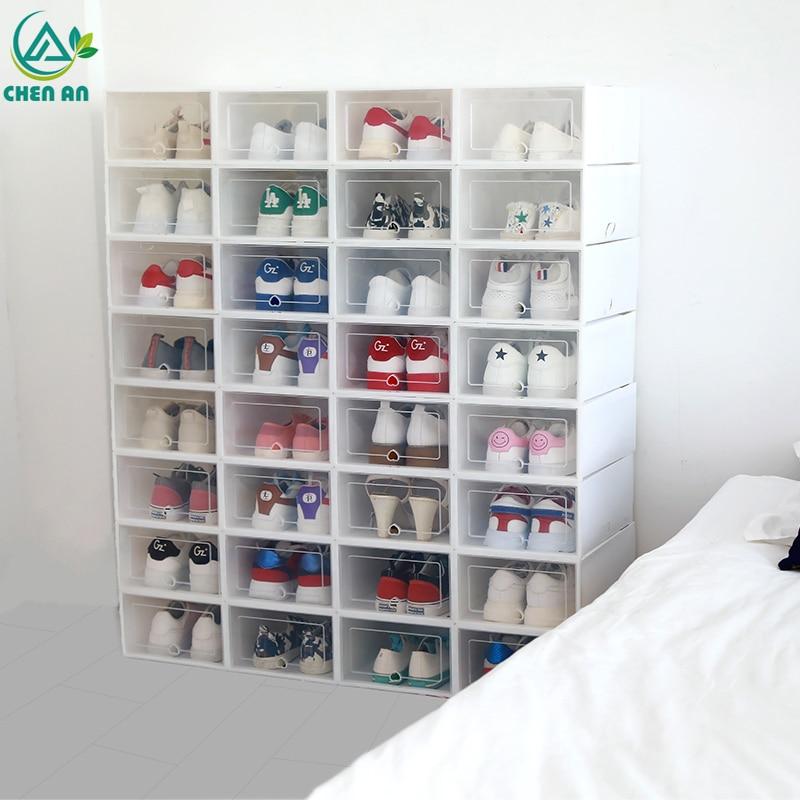 Stackable Box Organizer Case Shoe-Boxes Drawer Transparent Plastic 6pcs/Set Thickened