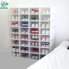 6 unids/set zapatos con tapa gruesa caja de plástico con cajón transparente caja de zapatos apilable caja de almacenamiento organizador de zapatos