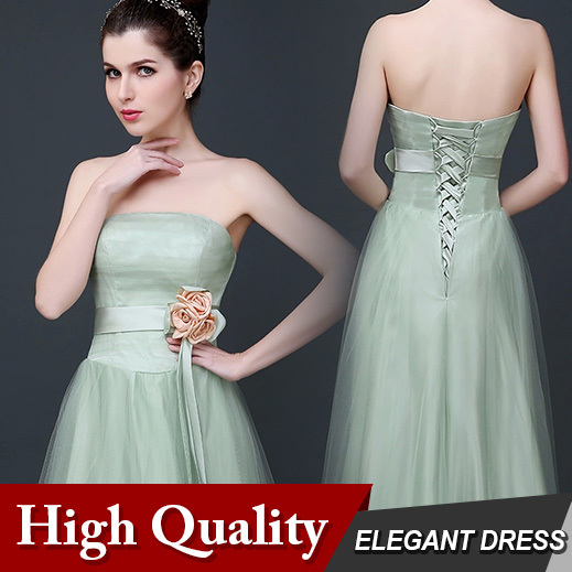 Women Strapless Bandage Prom Gown Light Green Lace Wedding Sister