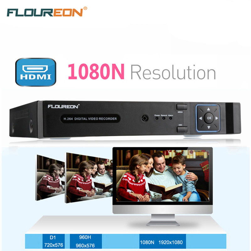 FLOUREON 8CH 1080N AHD HDMI H.264 CCTV DVR Security Video Recorder Cloud DVR NVR Surveillance CCTV Security System EU safurance h 264 8ch d1 dvr hdmi audio digital surveillance video recorder for home cctv security camera
