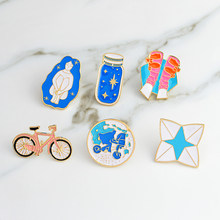 Pantofole ragazze della bicicletta blu della bicicletta della bici della bottiglia di desiderio pins Spille set smalto Duro pin Jeans cappello sacchetto di accessori decorativi(China)