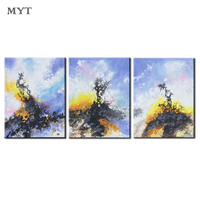 MYT Three picture Combination Oil Painting Decorative Pictures Wall Art Posters and Handpainted Canvas Painting for Living Room