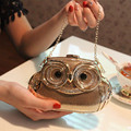 2015 New Women's Fashion Banquet Clutch Exquisite Diamond Owl Hard Case Evening Bag Wedding Party Handbag Purse Shoulder Bag