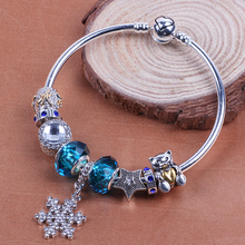 AIFEILI Valentine's Gift Luxury Silver Snowflake Charms European Crystal Bead DIY Fashion Bracelets Bangles For Women Jewelry