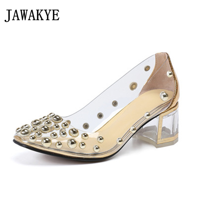JAWAKYE Transparent square toe Rivet Women Sandals Solid square heel Stilettos woman fashion Party dress Shoes