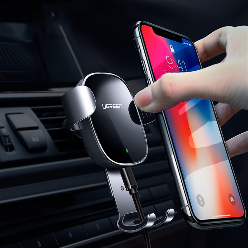 2018 New Ugreen Car Mount Qi Wireless Charger for iPhone X 8 Plus Fast Wireless Charging Pad Car Holder for Samsung Galaxy s9 s8