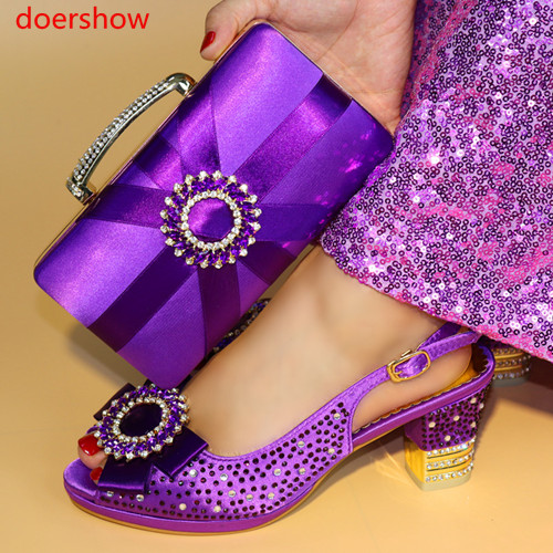 doershow Fashion African Shoe And Bag Set For Party Italian Shoe With Matching Bag New Design Shoes And Bag Set G4-27