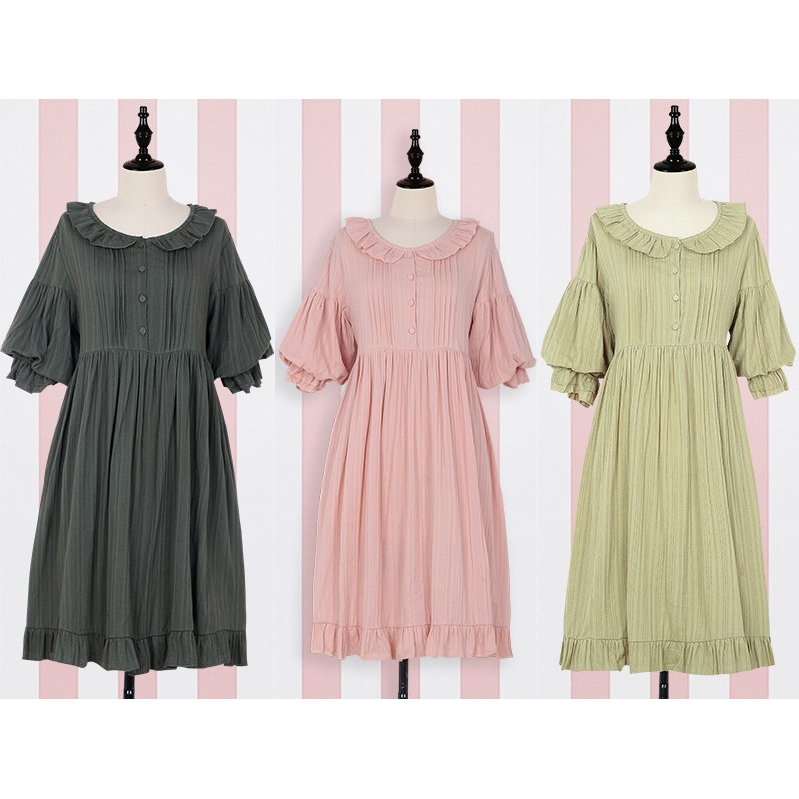 <font><b>Lolita</b></font> <font><b>Dress</b></font> Sweet Cute Puff Sleeve Japanese Kawaii Girls Princess Maid Vintage Pink Green Women Summer Skirt Bow Round Collar image
