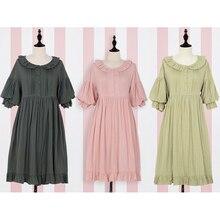 Lolita Dress Sweet Cute Puff Sleeve Japanese Kawaii Girls Princess Maid Vintage Pink Green Women Summer Skirt Bow Round Collar все цены