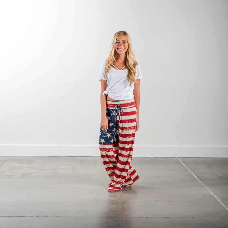 Women Pants Fashion Women's Summer Long Pants America National Flag