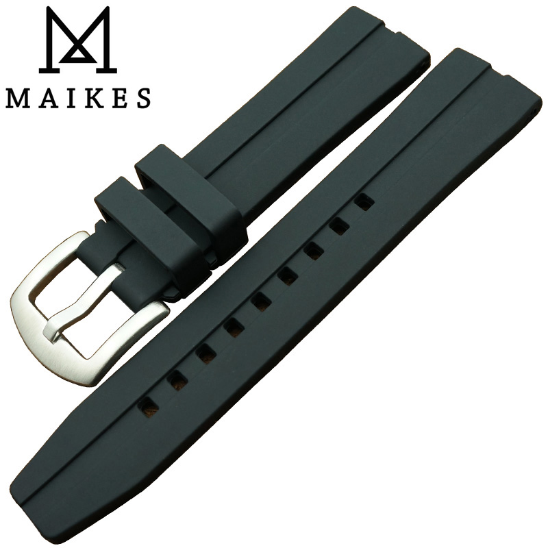 MAIKES 20mm 22mm 24mm black Trendy Silicone Rubber Watchband Sports dive watch band stainless steel buckle watch strap oliver peoples 5189 1005n5 black bernardo wayfarer sunglasses polarised
