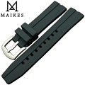 MAIKES 20mm 22mm 24mm black Trendy Silicone Rubber Watchband Sports dive watch band stainless steel buckle watch strap
