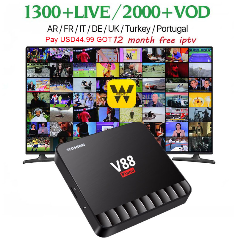 лучшая цена Wechip V88 Piano Smart Android 7.1 TV Box RK3328 Quad Core 4K VP9 H.265 HDR10 4GB/16GB Miracast DLNA WiFi LAN HD Media Player