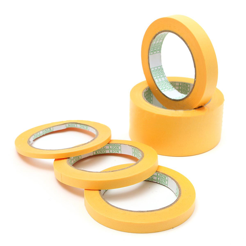 Mayitr 50M 6mm/10mm/12mm/18mm/50mm DIY Yellow Adhesive Masking Paint Spray Paper Tape