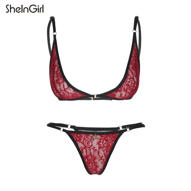 3187590580 SheInGirl 2017 Sexy Women Bra Set Sexy Wine Red Lace Sheer Back Closure Bra  Set Thong Underwear Breathable Comfortable Bra Set