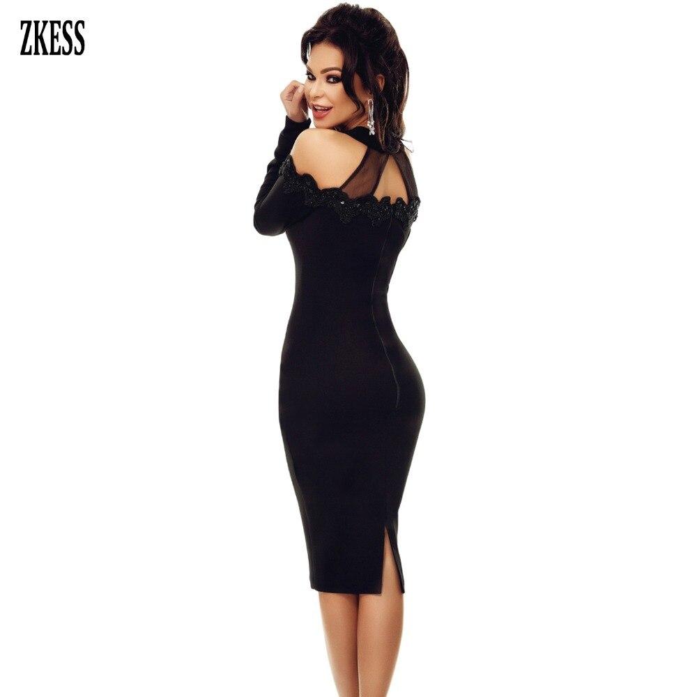 4bb694f75180 ZKESS Women Black Sheer Lace Crochet Applique Mesh Insert Cold Shoulder  Midi Dress Sexy Long Sleeve Party Sheath Dress LC61894-in Dresses from  Women's ...