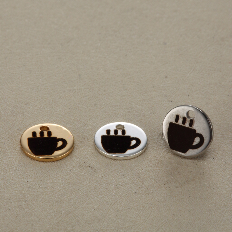5pcs/lot GRACE MOMENTS Stainless Steel Pendants Accessories 3Colors A Cup of Coffee Round Charms Making DIY Bracelet Necklace