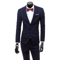 (Jacket+pants) 2018 Groom Wedding Dress Fashion Mens Two Buttons Suits Male Pure Color Casual Business Casual Blazer 2 piece set
