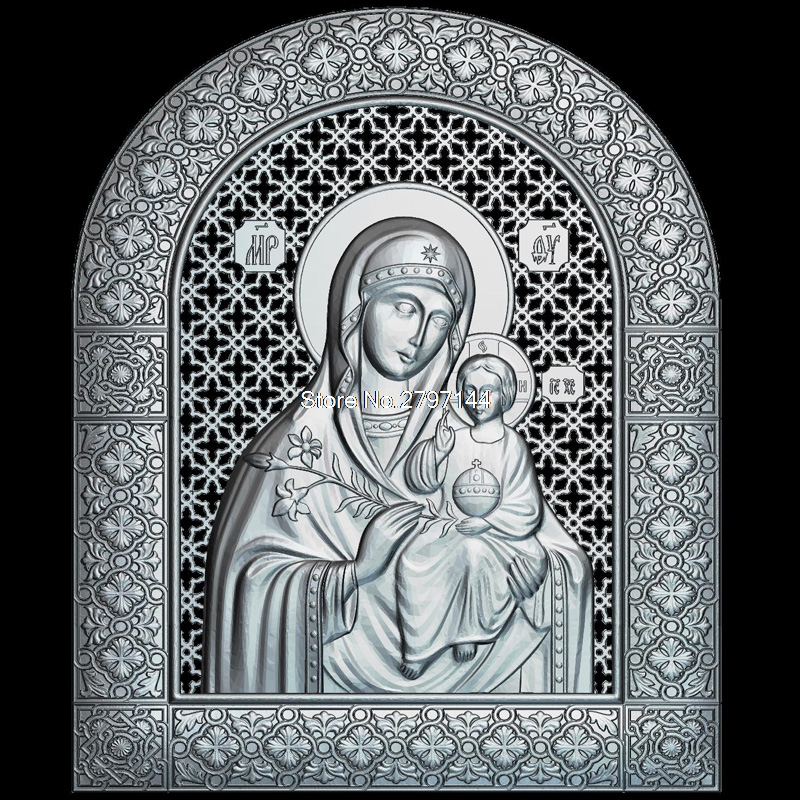 Icon Of The Mother Of God Undying COLOR 3D Model Relief Figure STL Format Religion 3d Model Relief  For Cnc In STL File Format