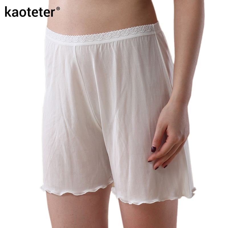 100% משי נשים מכנסיים קצרים בטיחות Femme קיץ מגניב נשים מכנסיים קצרים תחתוני אישה תחתוני תחתוני התחרה Loose דק נשי