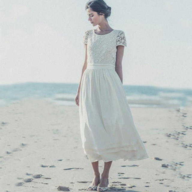 Vintage Lace Ankle Length Beach Wedding Dress Short Sleeves Simple Elegant A Line Party