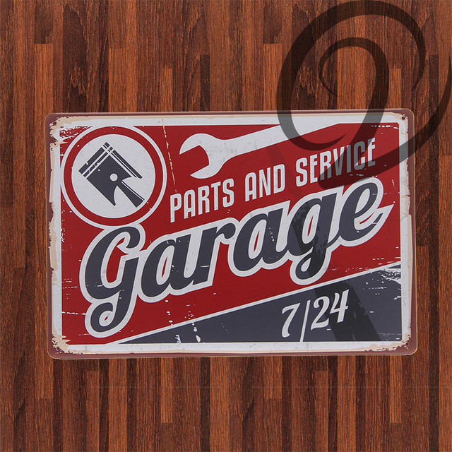 Parts and Service Garage Shabby Chic Metal Plaque Bar Pub Home ...