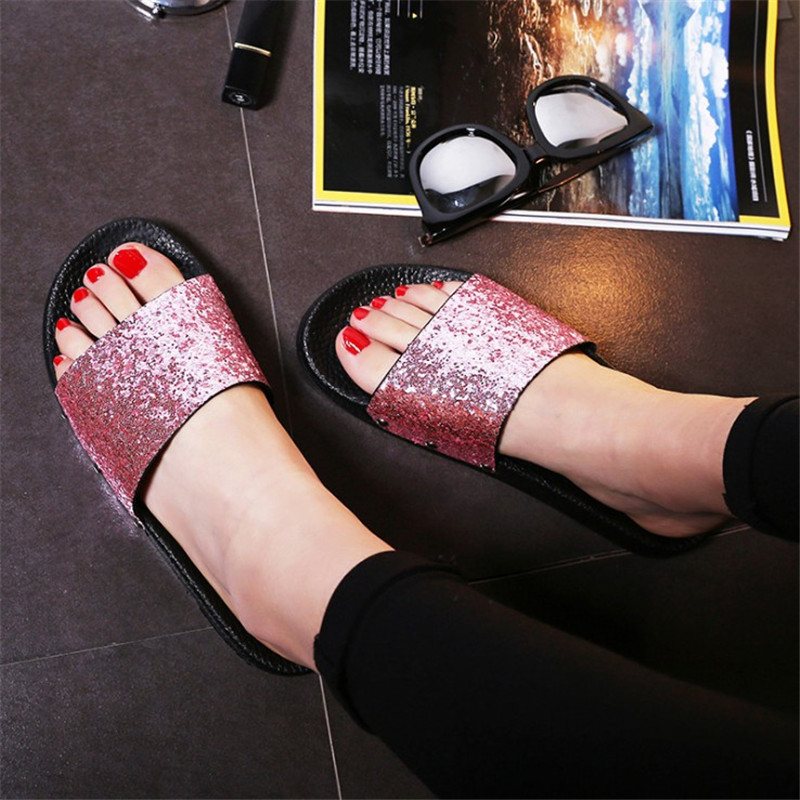 2018 Casual Women Summer Slippers Flats Beach Ladies Slipper Fashion Basic Fashion Shoe Bling Women Slippers Shoes Female YLD931 swonco women s slippers half shoes candy color breathable female slipper 2018 woman slippers summer sandals ladies beach shoes